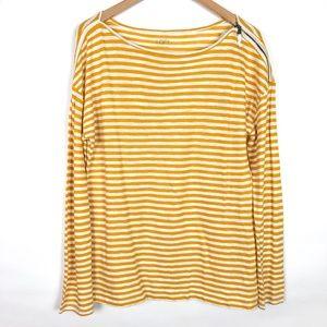 NWT LOFT Yellow Stripe Zipper Shoulder Top
